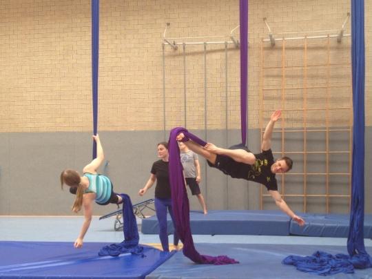 Workshop beim Akrobatikfestival in Frankfurt 2014.